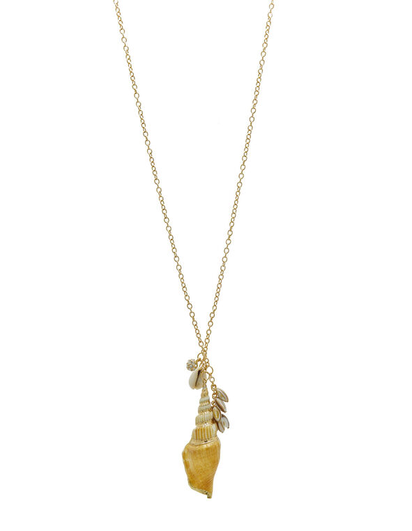 Gold Sea Shell Pendant Necklace, Gold, hi-res