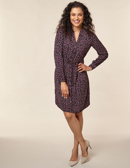 Berry Floral Shirt Dress, Purple/Berry, hi-res