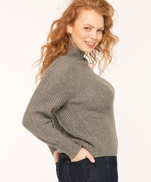 Grey Shaker Stitch Sweater, Grey Mix, hi-res