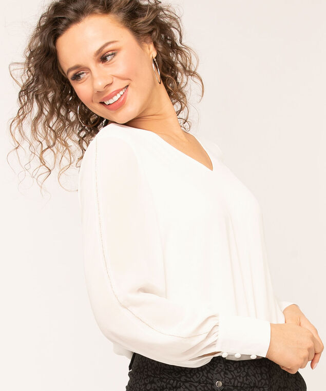 Ivory V-Neck Blouse, Ivory, hi-res
