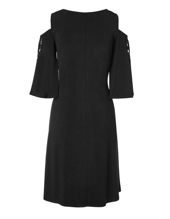 Black Cut Out Sleeve Dress, Black, hi-res
