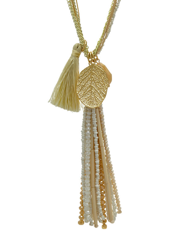 Long Neutral Beaded Necklace, White, hi-res