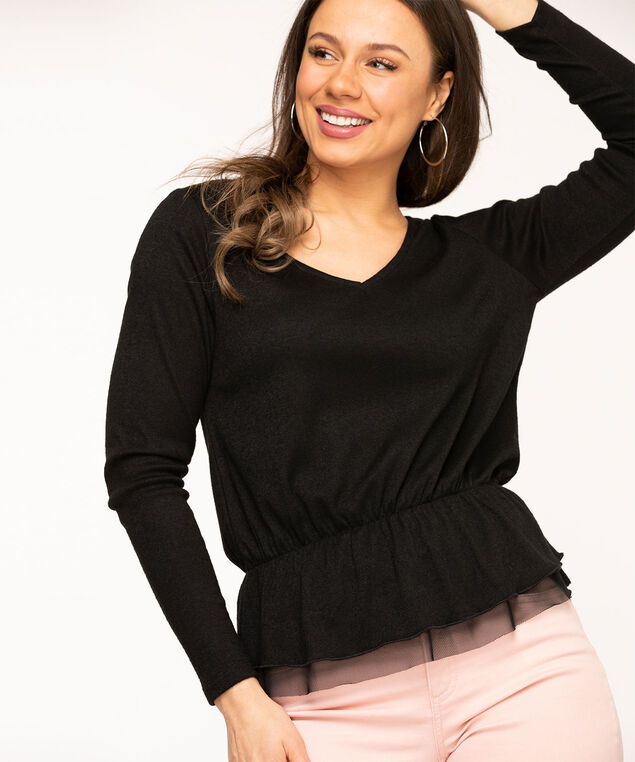 Black V-Neck Lightweight Knit Top, Black