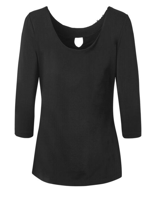 Black Embellished Neckline Top, Black, hi-res