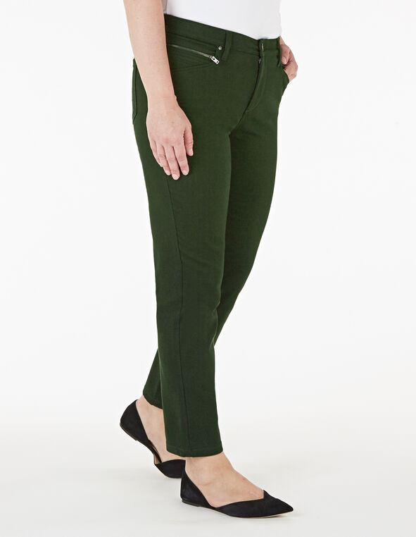 Loden Green Zip Ankle Jean, Dark Green, hi-res