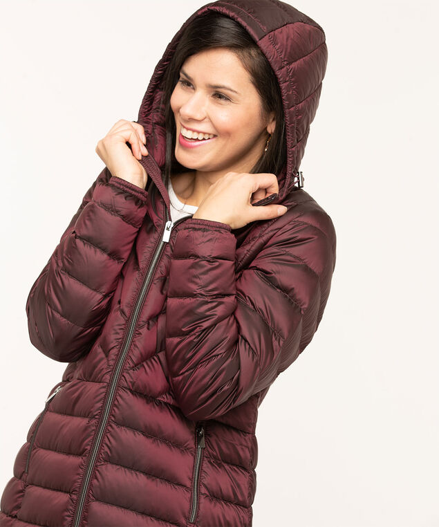 Pearlized Wine Packable Puffer, Wine