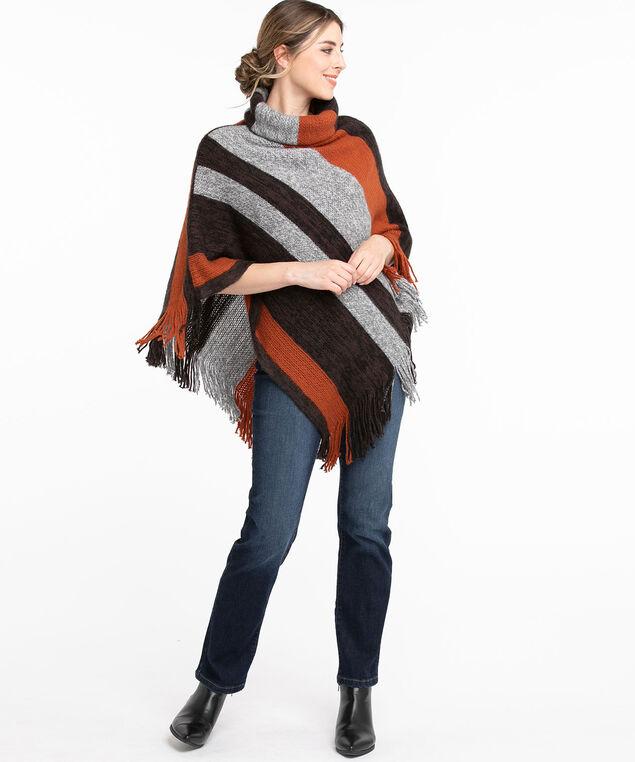 Turtle Neck Poncho Sweater, Grey/Orange/Brown