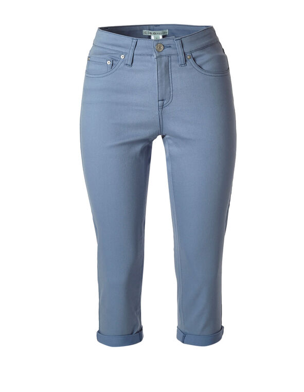 Dusty Blue Denim Capri, Dusty Blue, hi-res
