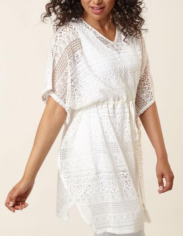 White Crochet Pullover Cover Up, White, hi-res
