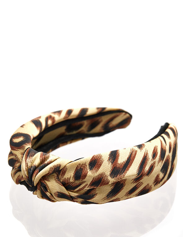 Animal Print Top Knot Headband, Brown, hi-res