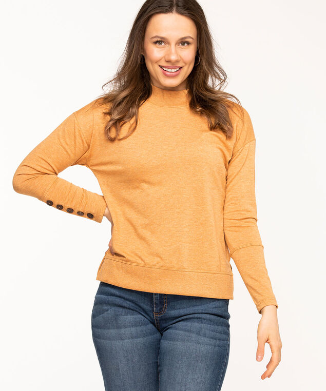 French Terry Mock Neck Top, Gold Mix
