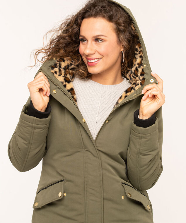 Hooded Faux Down Zipper Parka, Olive