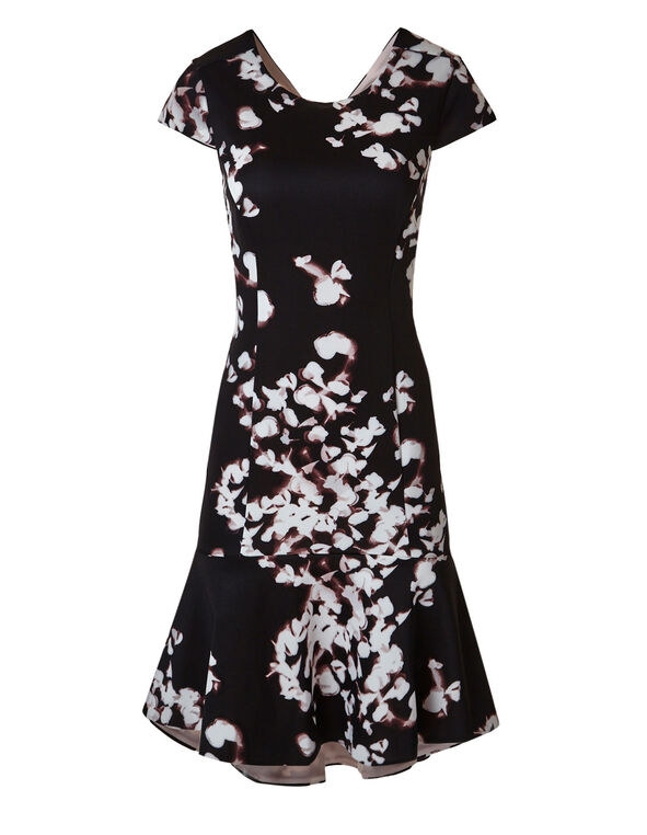 Black Floral Shift Dress, Black/Pink, hi-res