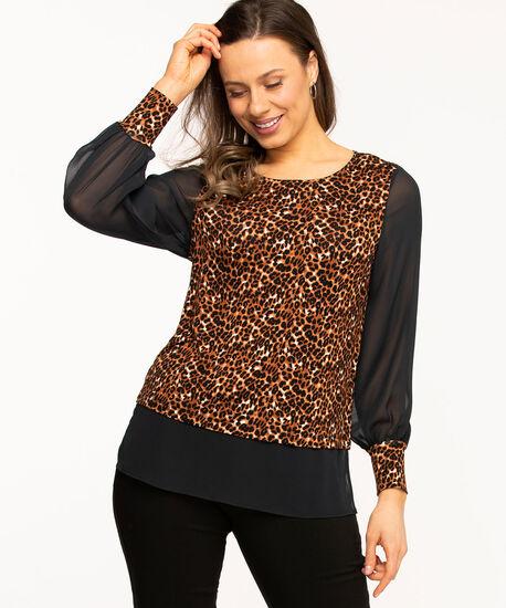 Leopard Print Fooler Hem Tunic, Black/Brown, hi-res