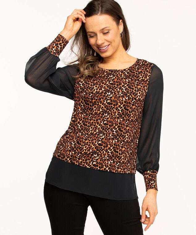 Leopard Print Fooler Hem Tunic, Black/Brown