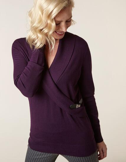 Purple Wrap Style Sweater, Dark Purple, hi-res