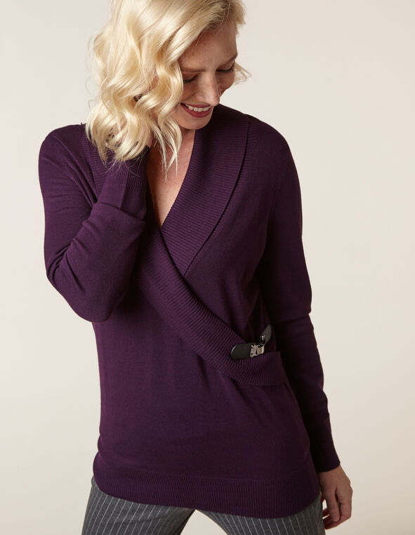 Purple Wrap Style Sweater, Dark Purple, hi-res