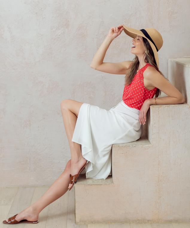 Ivory Maxi Skirt Look,