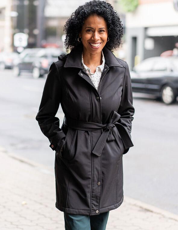 Black Softshell Trench Coat, Black, hi-res