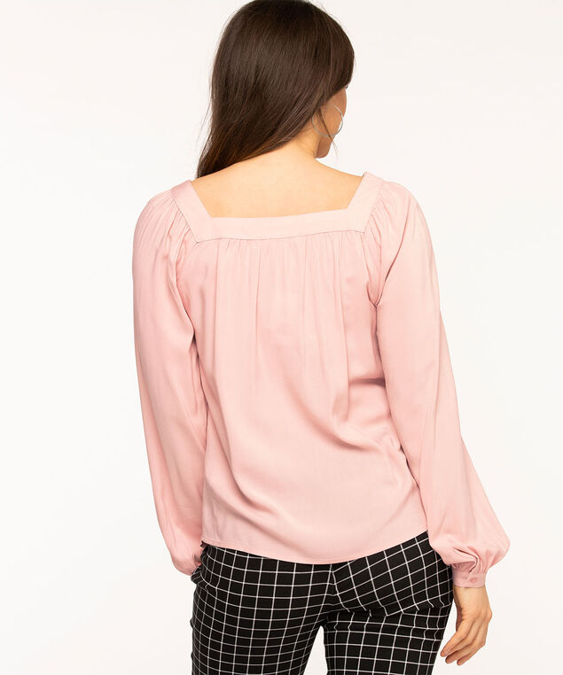 Pink Square Neck Gathered Blouse, Ballet Pink
