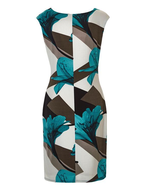 Floral Geometric Shift Dress, Turquoise/Black/Biscuit/Ivory, hi-res
