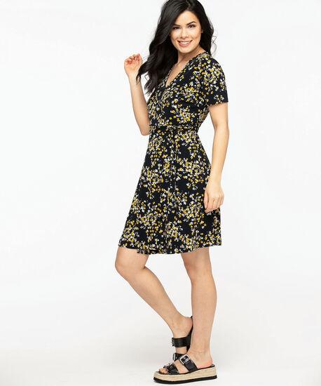 Black Floral Wrap Dress, Black/Gold/Ivory, hi-res