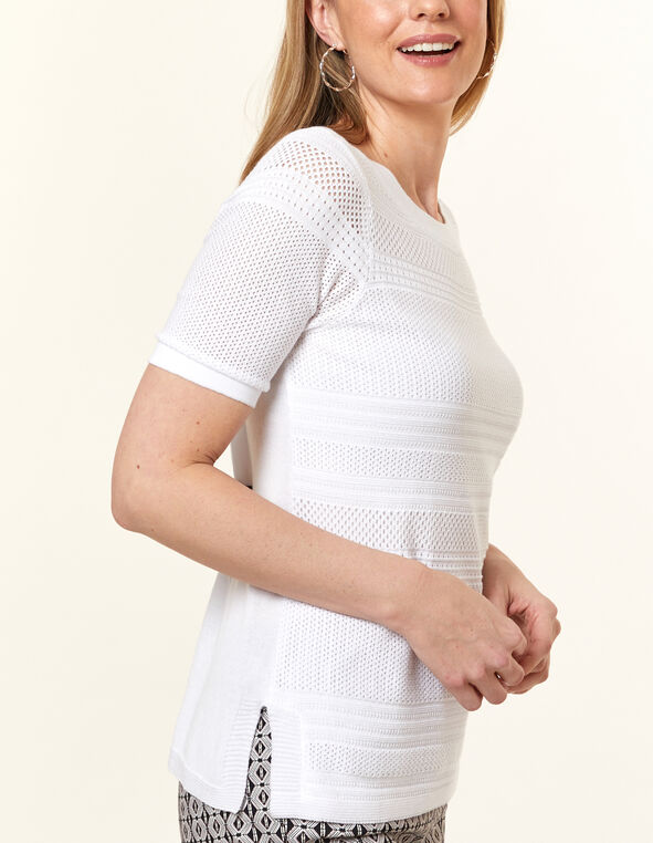 White Pointelle Stitch Sweater, White, hi-res