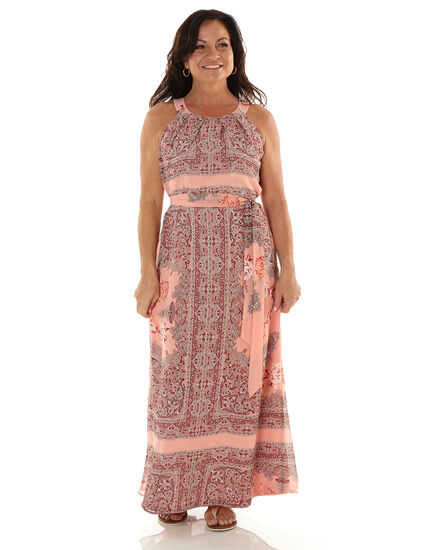 Pink Paisley Chiffon Maxi Dress, Pink, hi-res