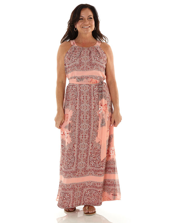 Pink Paisley Chiffon Maxi Dress, Pink, hi-res