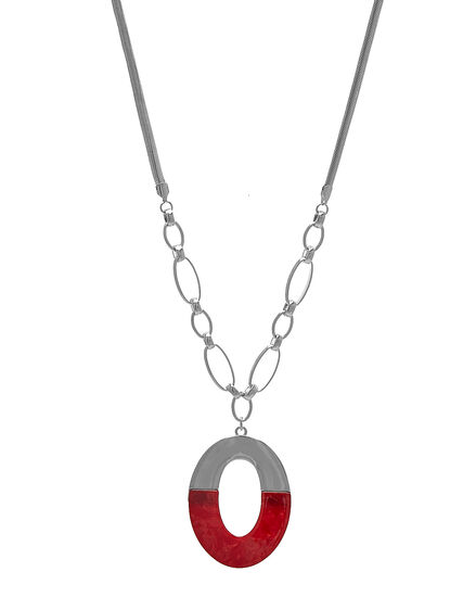 Red Oval Pendant Short Necklace, Red/Silver, hi-res