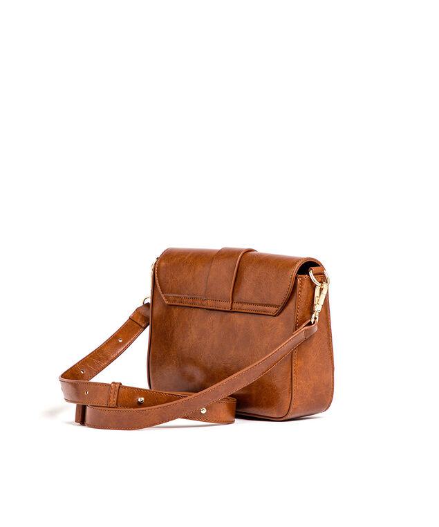 Brown Buckle Saddle Handbag, Brown/Gold Metal