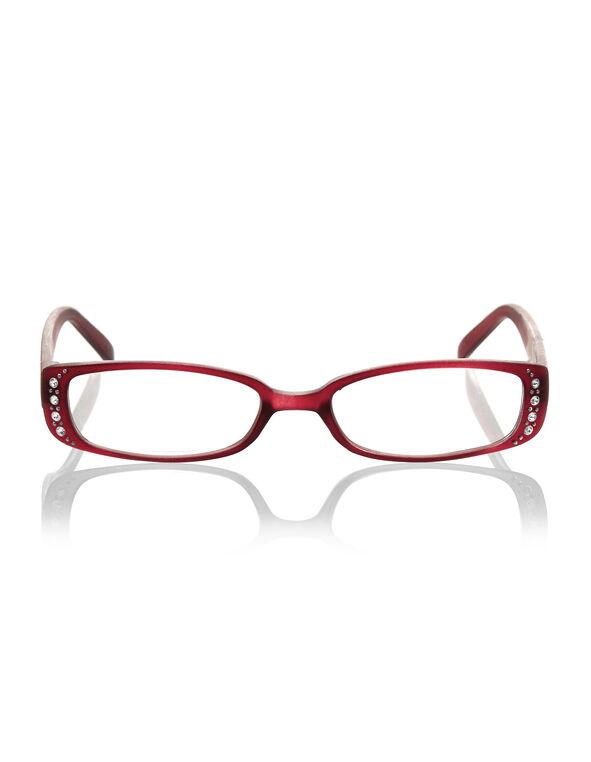 Red Floral Crystal Reader, Red, hi-res