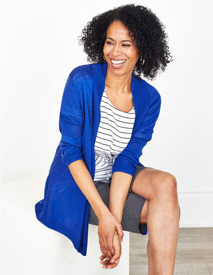 Electric Blue Basic Cardigan, Electric Blue, hi-res