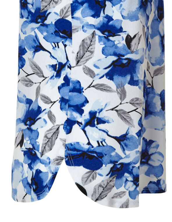 Blue Floral Printed Top, Blue/White, hi-res