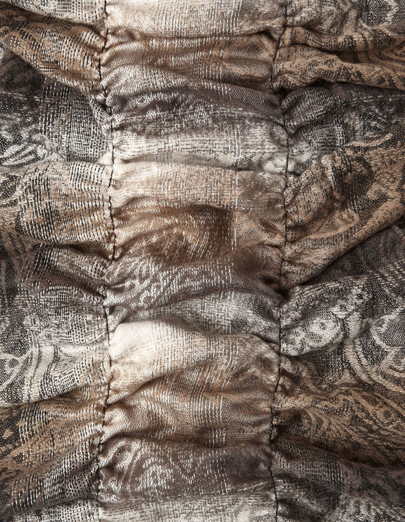 Neutral Paisley Boa Ruffle Scarf, Neutral, hi-res