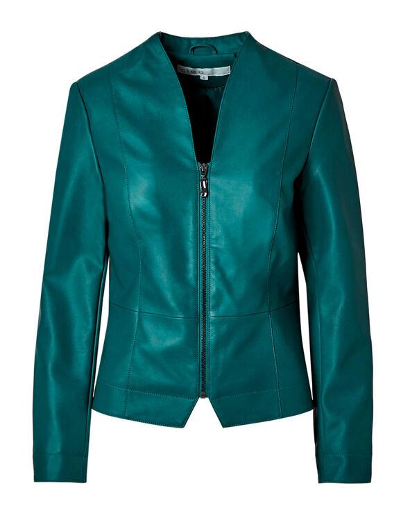 Dark Teal Faux Leather Jacket, Dark Teal, hi-res