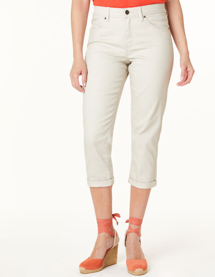 Stone Capri Jean, Neutral/Tan, hi-res