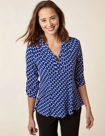 Sapphire Patterned Roll Sleeve Top, Blue, hi-res
