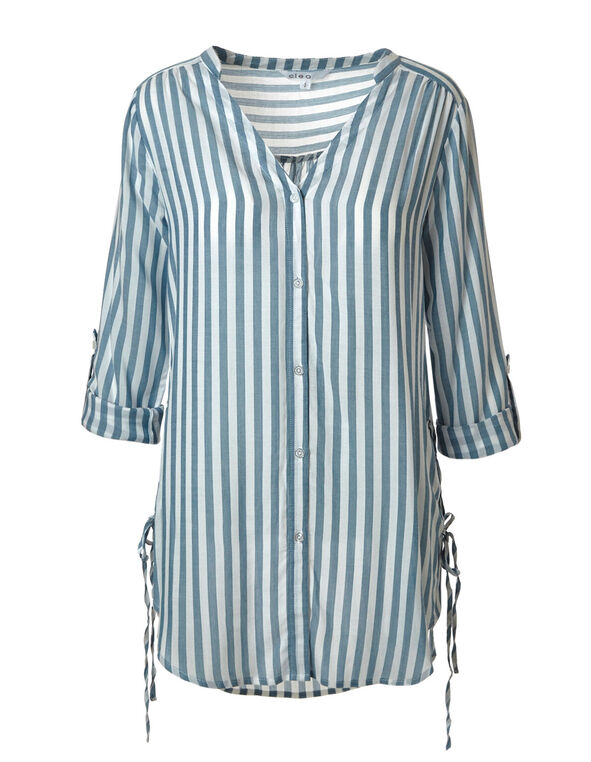 Blue Striped Tunic Blouse, Blue/White, hi-res