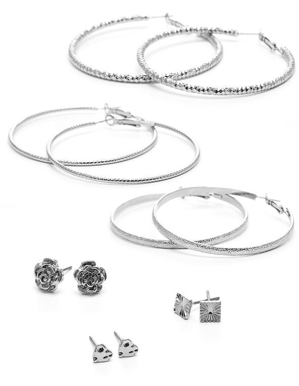 Silver Textured 6-Pack Earring Set, Silver, hi-res