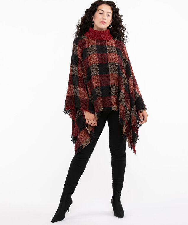 Turtle Neck Woven Poncho, Black/Red/Tan Check