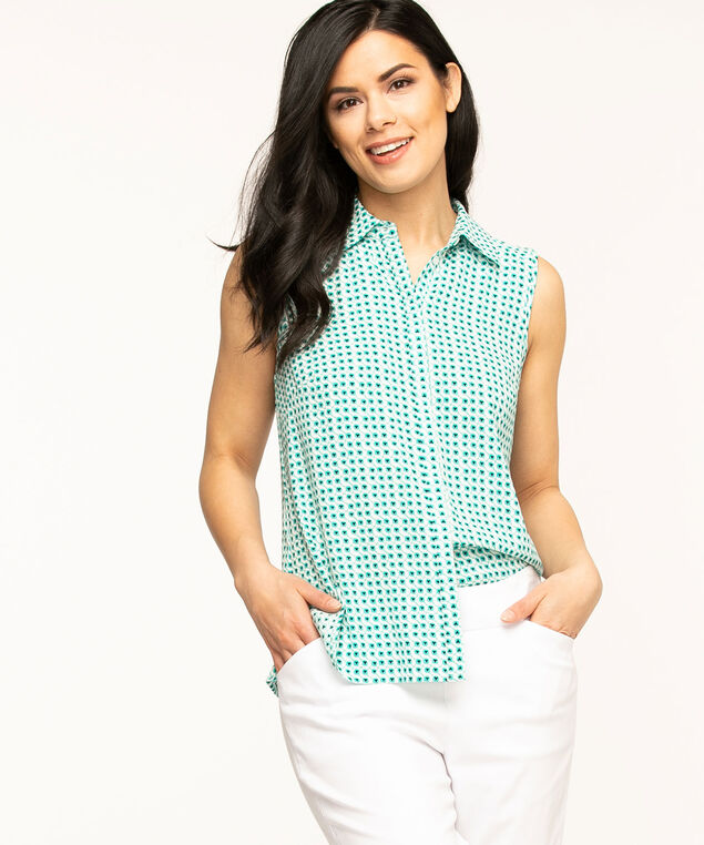 Teal Geometric Collared Button Blouse, Teal/White/Black