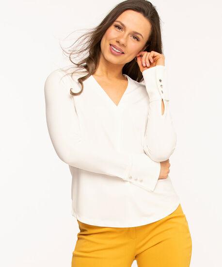 Ivory V-Neck Single Pleat Top, Ivory, hi-res