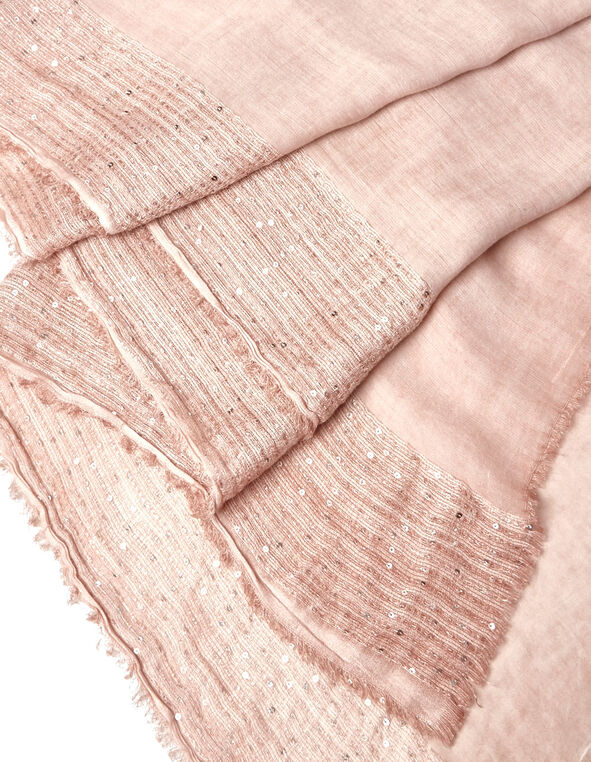 Pink Sequin Trim Scarf, Pink, hi-res
