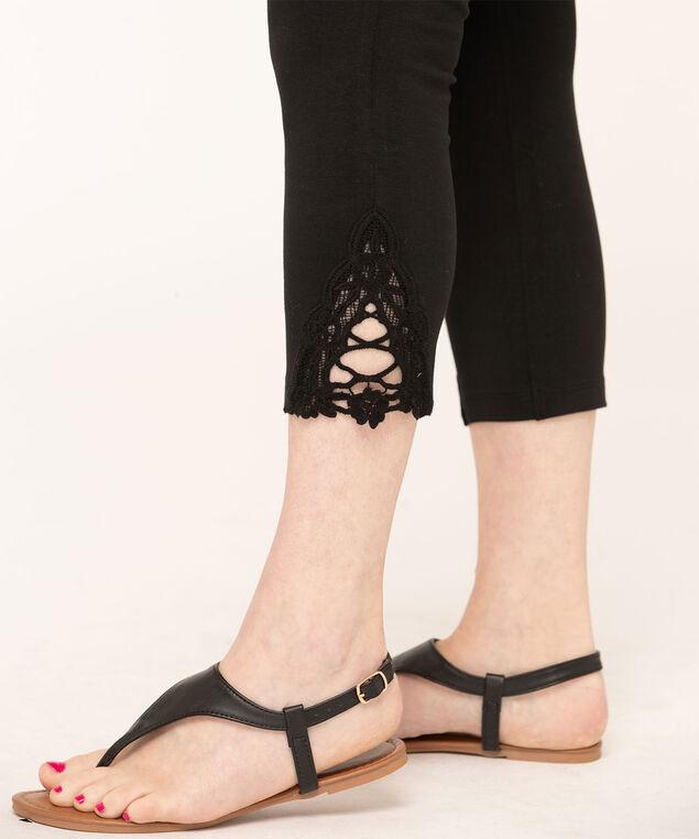 Black Lace Trim Capri Legging, Black, hi-res