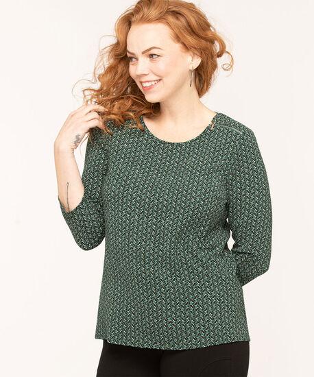Forest Green Zipper Shoulder Blouse, Forest Green/Black/Ivory, hi-res
