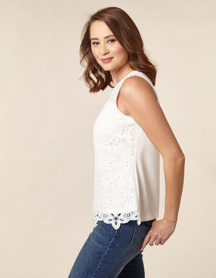 Ivory Lace Front Sleeveless Top, Ivory, hi-res