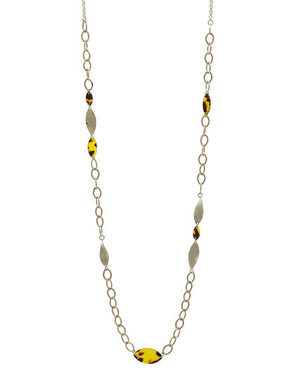 Long Gold Chain Tort Necklace, Brown, hi-res