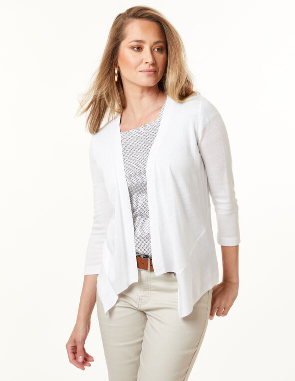 Waterfall Cardigan, White, hi-res