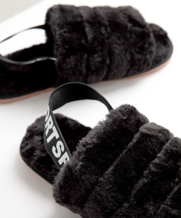 Faux Fur Slingback Slipper, Black